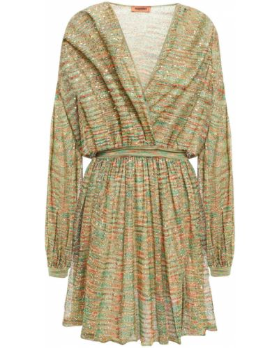 Открытое зеленое платье мини с пайетками Missoni