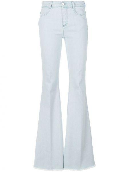 Хлопковые синие расклешенные джинсы с карманами на молнии Stella Mccartney