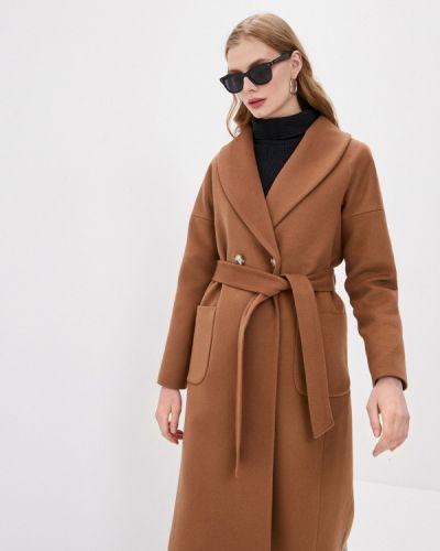 Коричневое пальто двубортное Doroteya