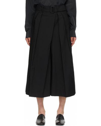 Czarne szorty bawełniane asymetryczne Lemaire
