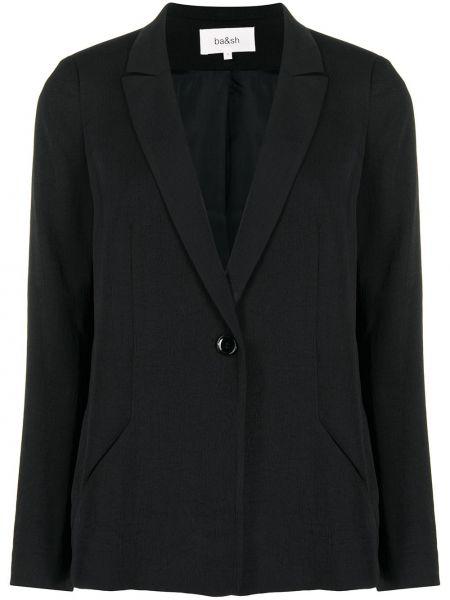 Однобортный черный удлиненный пиджак с карманами Ba&sh