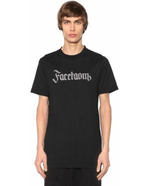 Czarny t-shirt bawełniany z haftem Facetasm