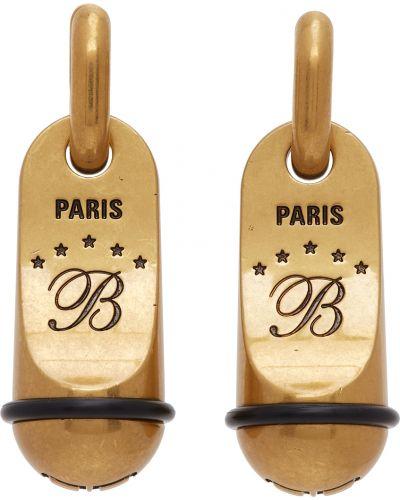 Czarne złote kolczyki sztyfty Balenciaga