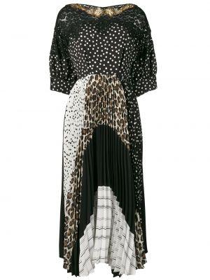 Czarna sukienka mini krótki rękaw z wiskozy Antonio Marras