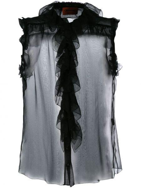 Черный топ с оборками винтажный без рукавов Missoni Pre-owned