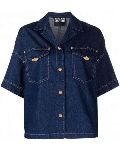 Koszula jeansowa krótki rękaw - niebieska Versace Jeans Couture