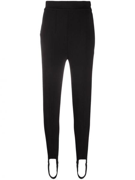 Wełniany czarny spodnie na paskach z kieszeniami Isabel Marant