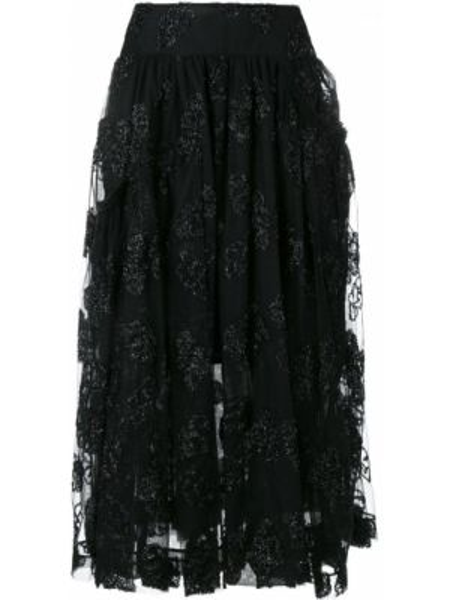 Юбка миди с завышенной талией - черная Simone Rocha