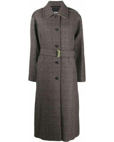 Коричневое шерстяное пальто классическое в клетку Frenken