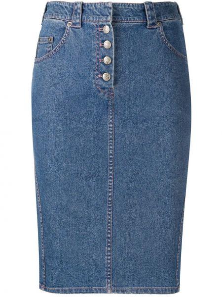 Прямая синяя классическая с завышенной талией джинсовая юбка Christian Dior