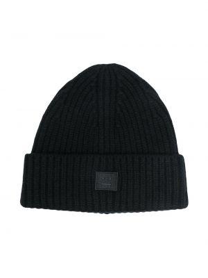 Шерстяная черная шапка бини с нашивками крупной вязки Acne Studios