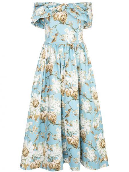 Хлопковое синее приталенное платье с открытыми плечами Oscar De La Renta