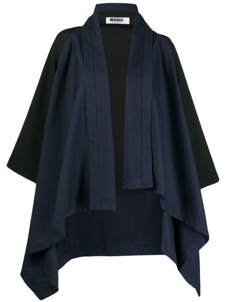 С рукавами шерстяная синяя асимметричная накидка 132 5. Issey Miyake
