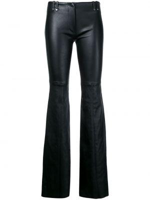 Czarne spodnie skorzane rozkloszowane Plein Sud