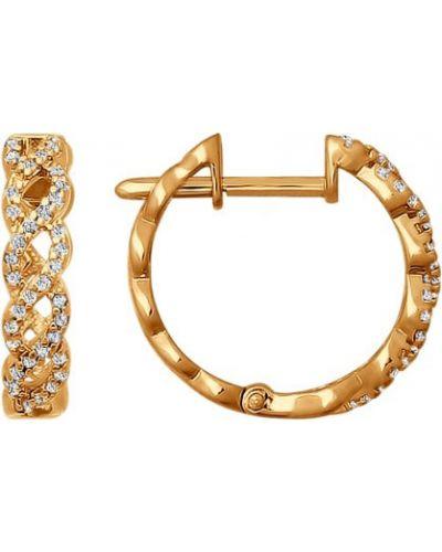 Серьги-кольца с фианитом золотые Sokolov
