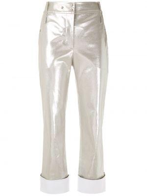 Укороченные брюки с карманами золотые с высокой посадкой на молнии Gloria Coelho