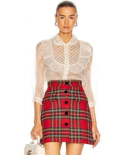 Шелковая блузка с воротником на пуговицах Miu Miu