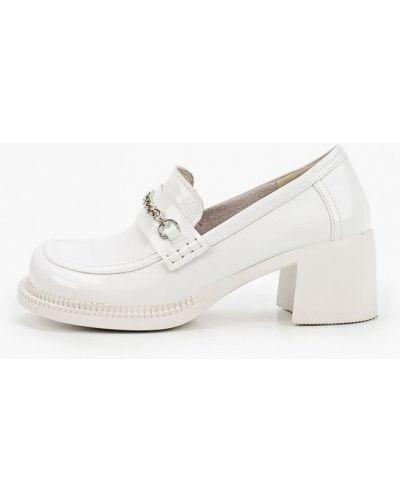 Лаковые кожаные белые туфли Makfine