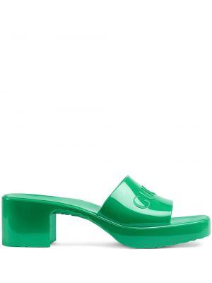 Zielone sandały peep toe Gucci
