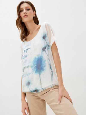 Блузка с короткими рукавами - белая Passioni