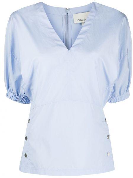 Niebieska bluzka krótki rękaw bawełniana 3.1 Phillip Lim