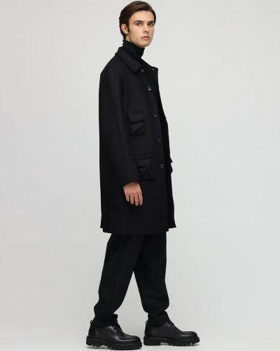 Czarny płaszcz wełniany Lc23
