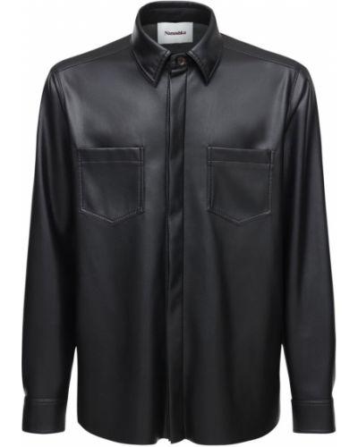 Кожаная рубашка на пуговицах Nanushka