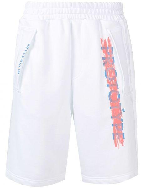 Białe spodenki sportowe bawełniane z printem Omc