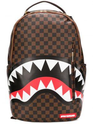 Коричневый кожаный рюкзак на бретелях на молнии Sprayground