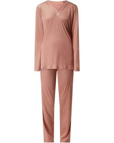 Różowa piżama z długimi rękawami z dekoltem w serek Schiesser
