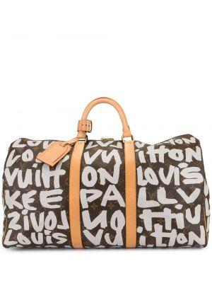 Коричневая дорожная сумка круглая на молнии двусторонняя Louis Vuitton