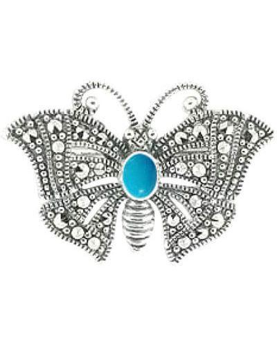 Серебряная брошь с камнями бабочка марказит