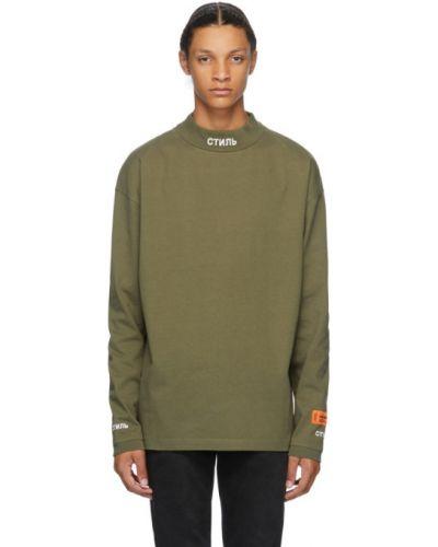 Zielony bawełna koszula z mankietami z haftem Heron Preston
