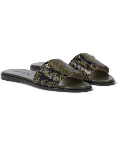 Zielony skórzany sandały wytłoczony Jimmy Choo