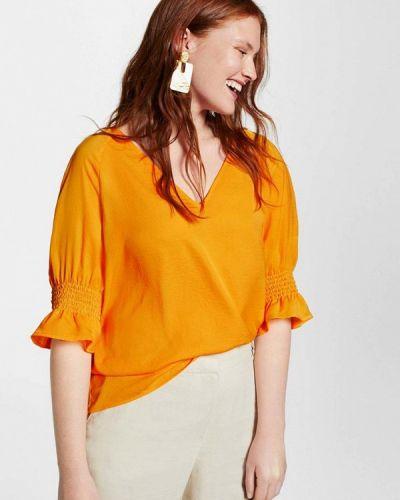 Желтая блузка с рюшами Violeta By Mango