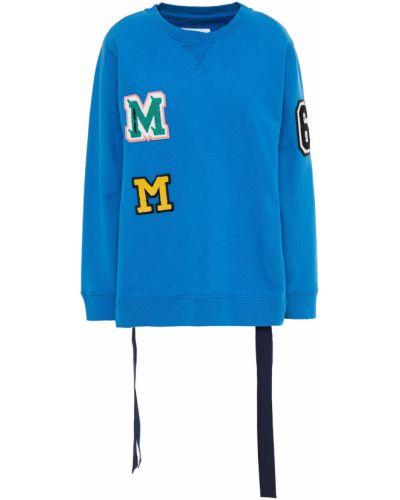 Niebieska bluza dresowa bawełniana koronkowa Mm6 Maison Margiela
