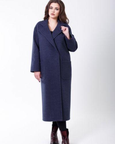 Синее пальто классическое с воротником с карманами Sergio Cotti