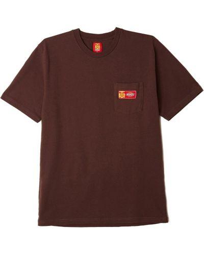 Коричневая хлопковая футболка с карманами Obey
