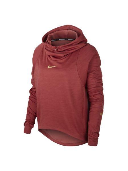 Ze sznurkiem do ściągania czerwony t-shirt z kapturem z kołnierzem Nike