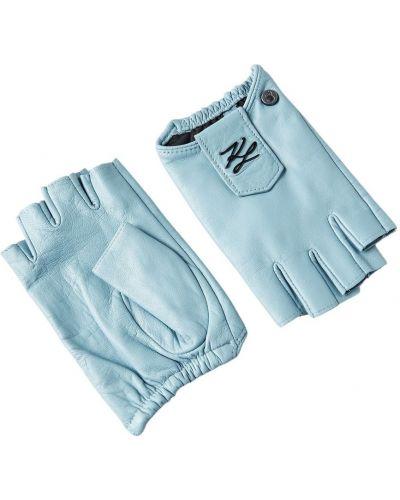 Niebieskie rękawiczki pikowane casual Karl Lagerfeld