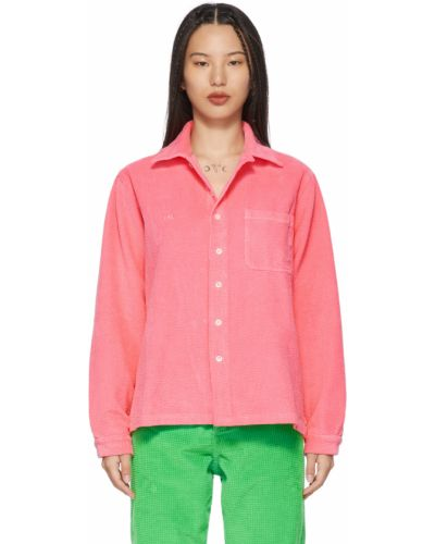 Różowa koszula bawełniana z długimi rękawami Erl