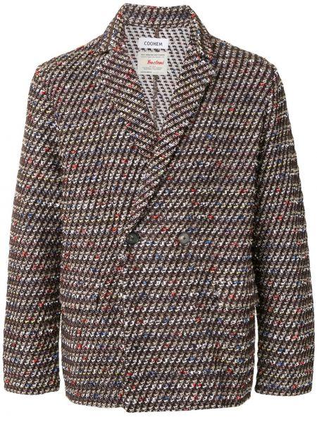 Шерстяной коричневый пиджак на пуговицах с лацканами Coohem
