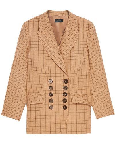 Шерстяной бежевый прямой пиджак с поясом Alena Akhmadullina
