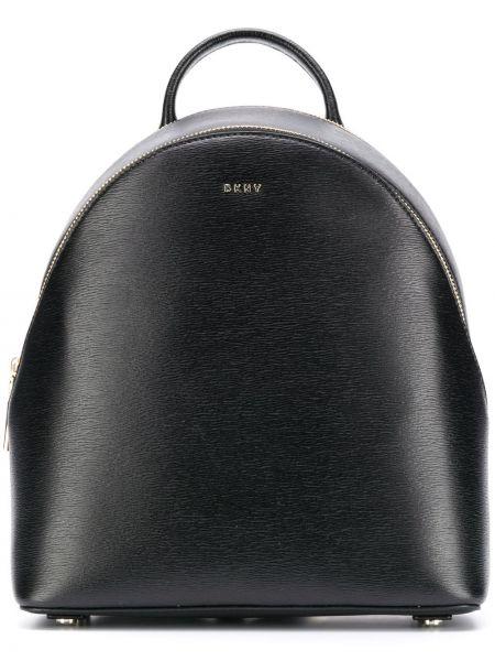 Черная кожаная сумка круглая на молнии на бретелях Dkny