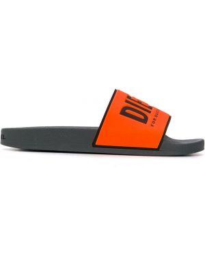 Открытые оранжевые шлепанцы без застежки с открытым носком Diesel