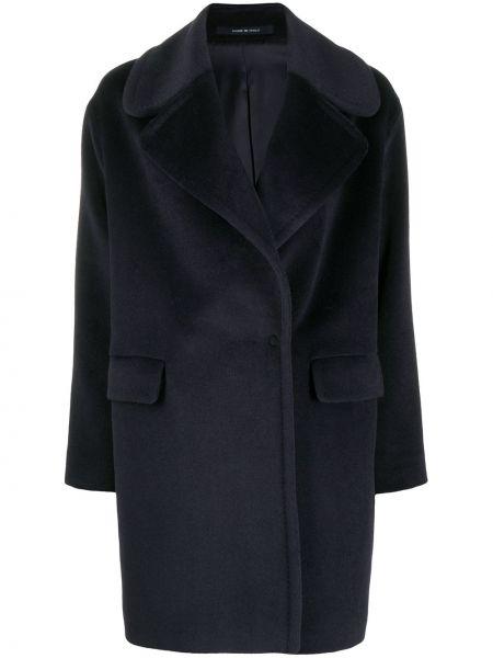 Синее шерстяное длинное пальто свободного кроя Tagliatore