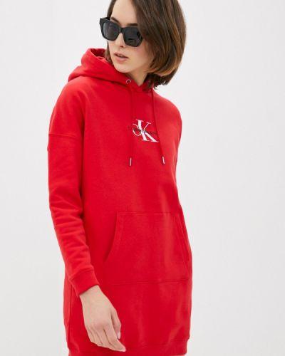 Джинсовое платье - красное Calvin Klein Jeans