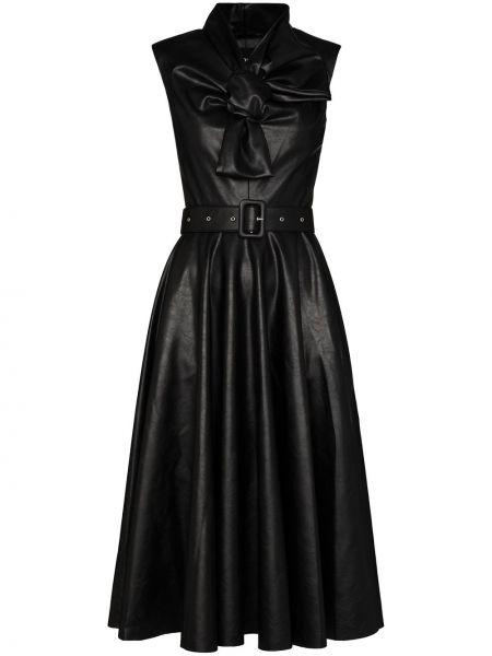 Черное кожаное платье миди с бантом Anouki