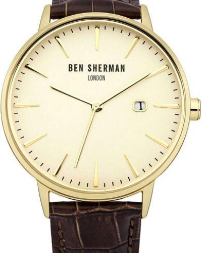Часы водонепроницаемые с кожаным ремешком классические Ben Sherman