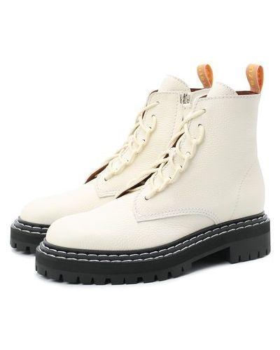 Кожаные белые ботинки на молнии Proenza Schouler
